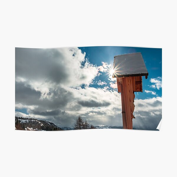Crucifix on the top of the mountain Poster