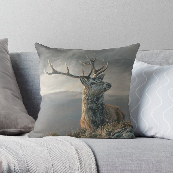 "Red Deer Stag ""Whenever I Forget"" Throw Pillow"