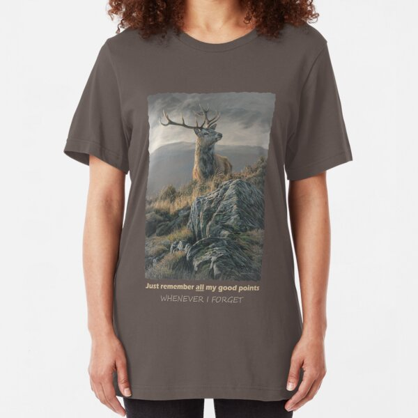 """Red Deer Stag """"Whenever I Forget"""" Slim Fit T-Shirt"""