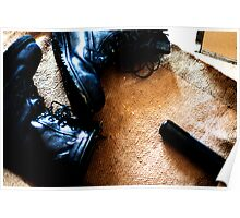 Boots on floor Poster