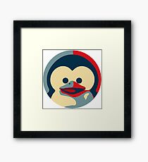 Linux tux penguin obama poster baby  Framed Print