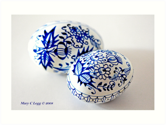 Two Traditional Czech Easter Eggs With Blue Onion Pattern By Pogomcl