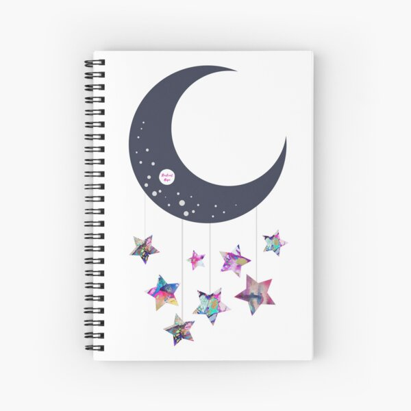 Abstract Moon and Stars  Spiral Notebook