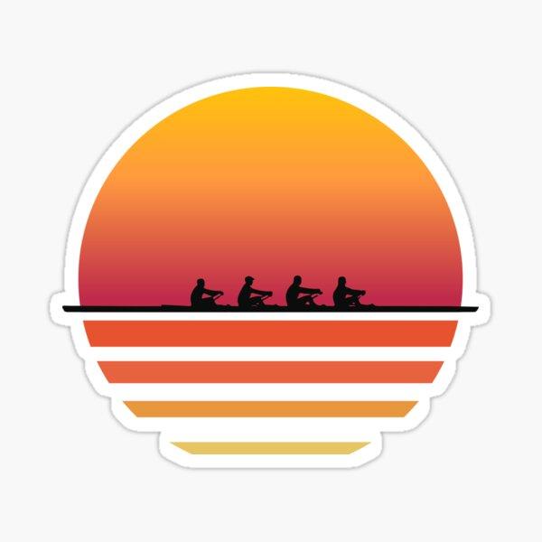 Rowing Team Sunset Lake Art | Cute Crew Sport Art Gift Sticker