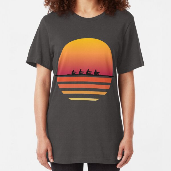 Rowing Team Sunset Lake Art | Cute Crew Sport Art Gift Slim Fit T-Shirt