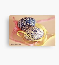 Two traditional hand-painted Czech Easter eggs Metal Print