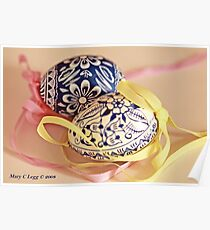 Two traditional hand-painted Czech Easter eggs Poster