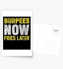 Burpees jetzt Fries später Postkarten
