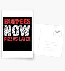 Burpees jetzt Pizzas später Postkarten
