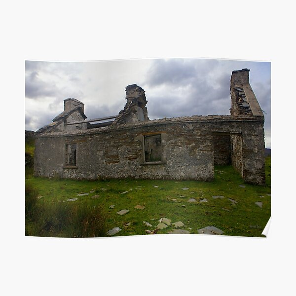 Ruined Cottage at Cashelnagor, County Donegal, Ireland Poster