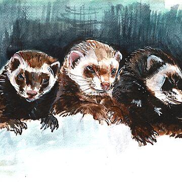 Three Sleepy Ferrets de belettelepink