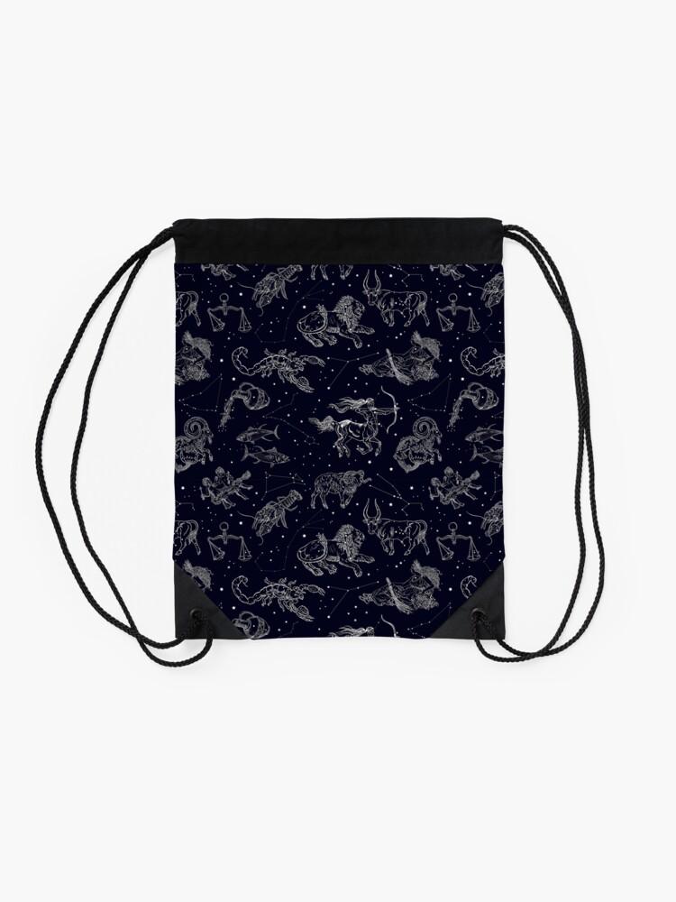 Alternate view of Vintage astronomy seamless pattern. Drawstring Bag
