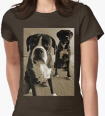 What do you mean she's right behind me .... -Boxer Dogs Series- Women's Fitted T-Shirt