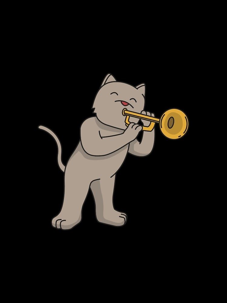 Trumpet cat gift instrument playing music by Franja2