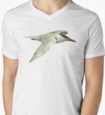 Caspian Tern in flight V-Neck T-Shirt