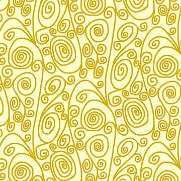 Golden Curls on Yellow Background by Gravityx9
