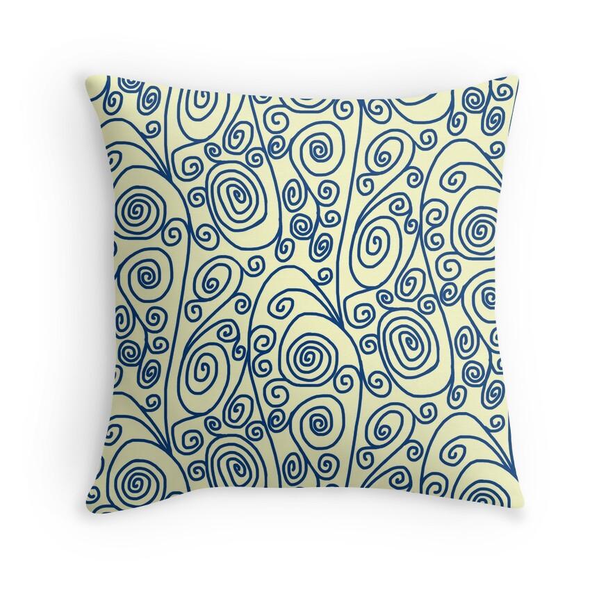 Blue Curls Yellow Doodle Art