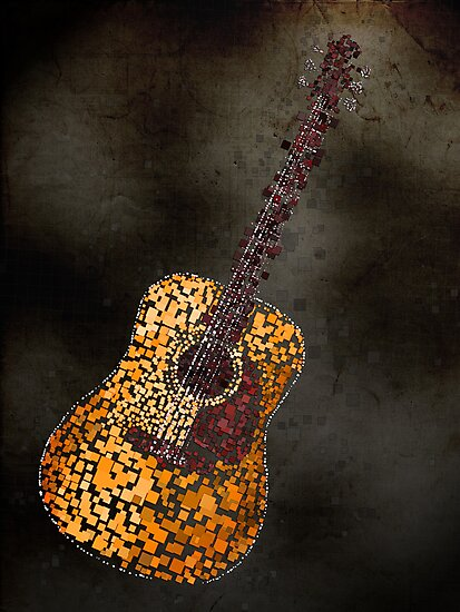 Abstract Guitar in Squares by Michael Tompsett