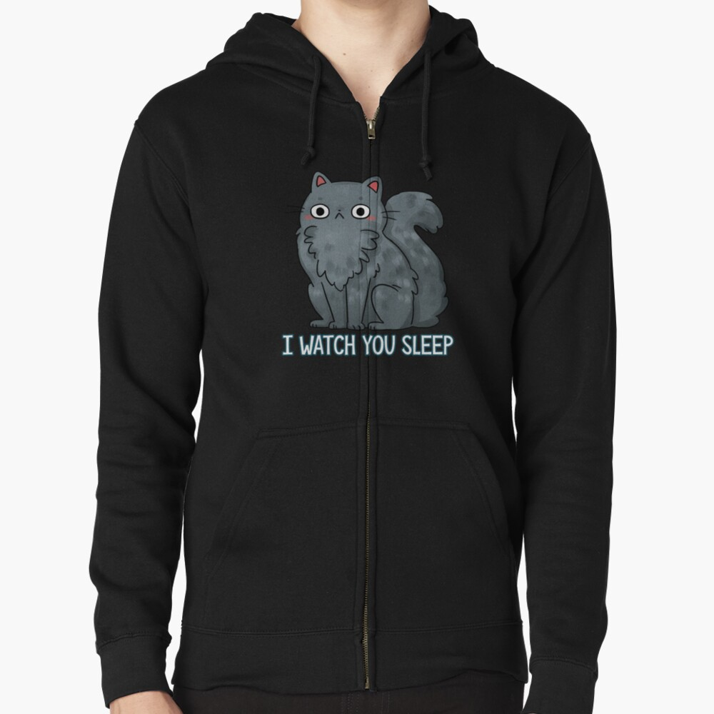 Creepy Cat - That watches you sleep  Zipped Hoodie