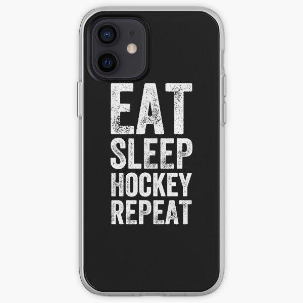 Eat sleep hockey repeat iPhone Soft Case