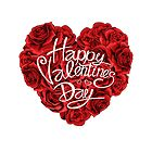 Valentines day red roses heart filled and lettering isolated on white background by Archon7th