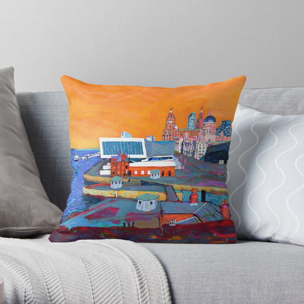 Liverpool: The Pier Head from the Tate Throw Pillow