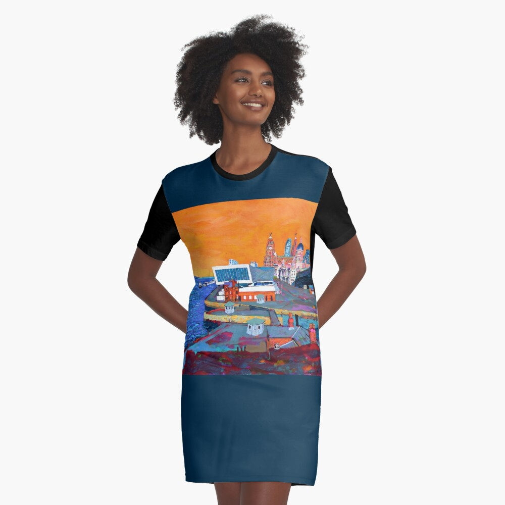 Liverpool: The Pier Head from the Tate Graphic T-Shirt Dress