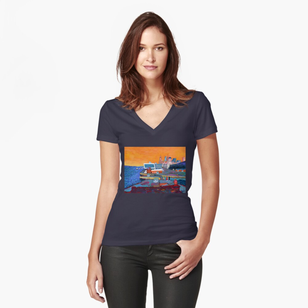 Liverpool: The Pier Head from the Tate Fitted V-Neck T-Shirt