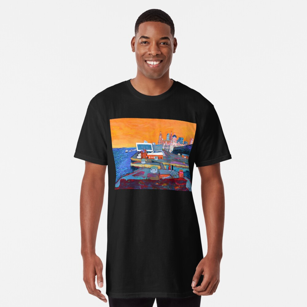 Liverpool: The Pier Head from the Tate Long T-Shirt