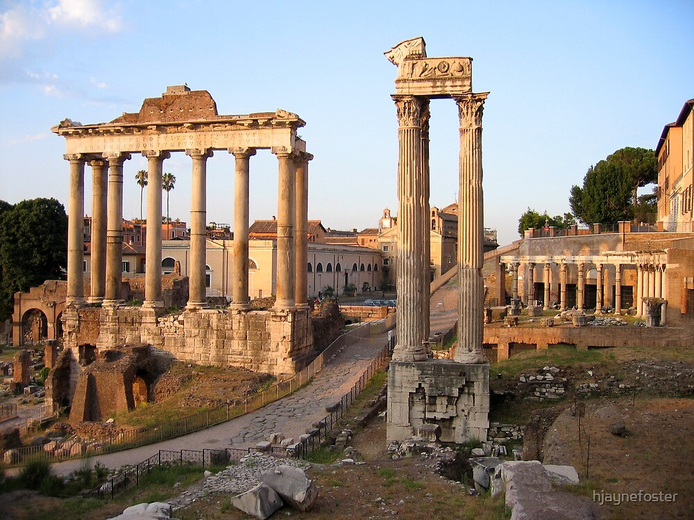 Remains of the Temple of Vespasian & the Temple of Saturn, Rome/Italy by hjaynefoster