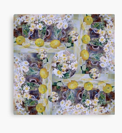 Scarf - Lemons and Daisies Canvas Print