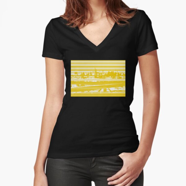 Manhattan in Stripes V Tailliertes T-Shirt mit V-Ausschnitt