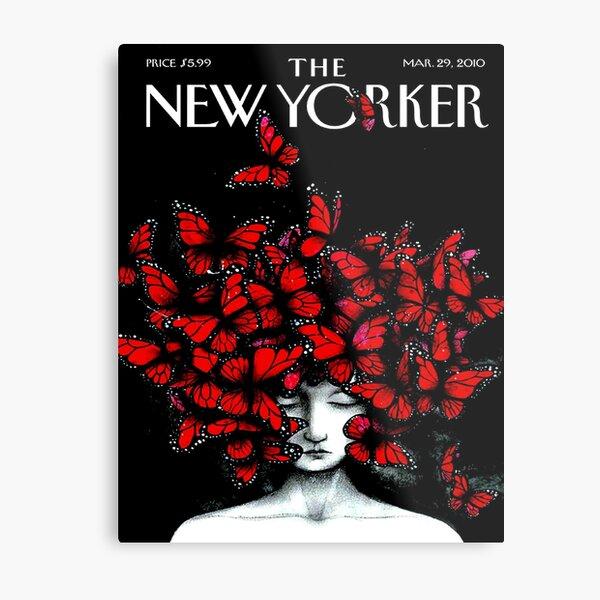 NEW YORKER : Vintage Monarch Butterfly Magazine Print Metal Print