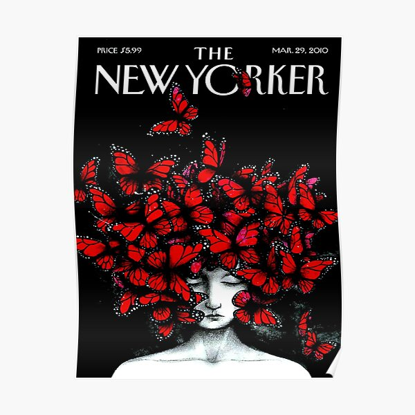 NEW YORKER : Vintage Monarch Butterfly Magazine Print Poster