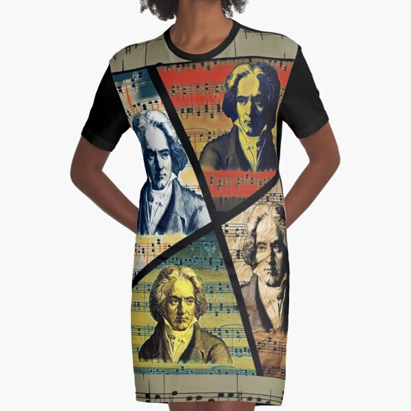 Ludwig Van Beethoven Painting Collage  Graphic T-Shirt Dress
