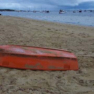 Orange Boat On The Beach by lezvee