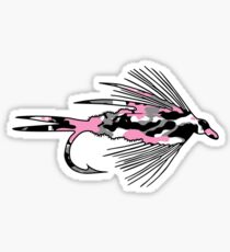 Pink Camo Fly - Fly Fishing T-shirt Sticker