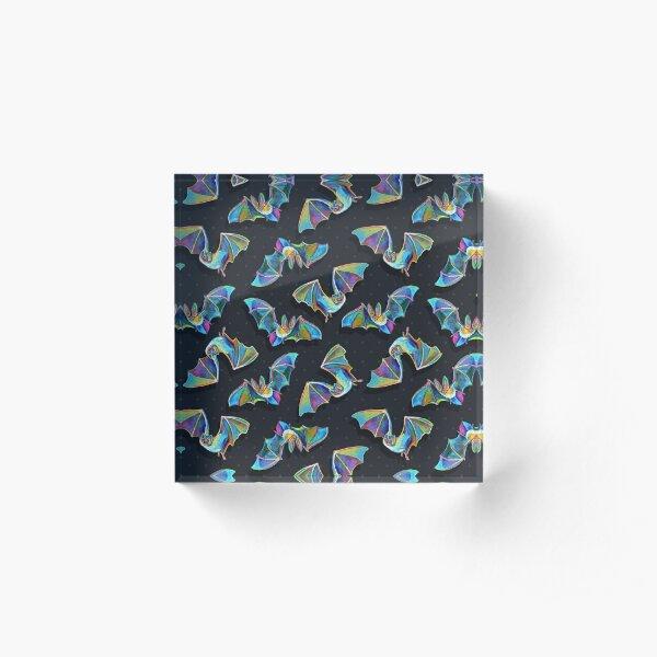 Psychedelic Bat Pattern by Robert Phelps Acrylic Block