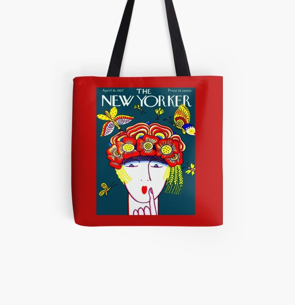 NEW YORKER : Vintage 1927 Flower Hat with Butterfies Print All Over Print Tote Bag