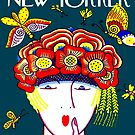 NEW YORKER : Vintage 1927 Flower Hat with Butterfies Print by posterbobs