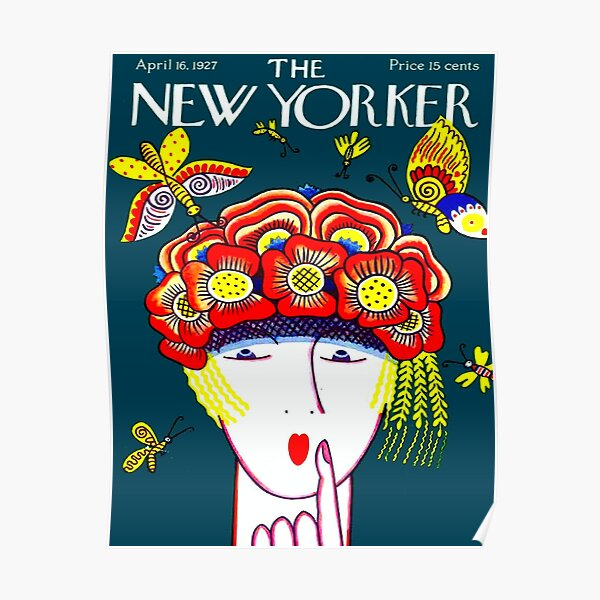 NEW YORKER : Vintage 1927 Flower Hat with Butterfies Print Poster