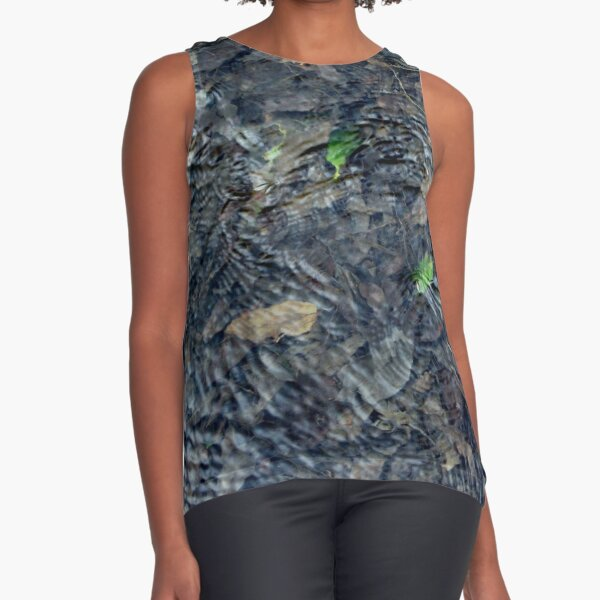 Ripples on Water with Leaf Sleeveless Top
