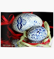 Two blue and white Czech Easter Eggs Poster