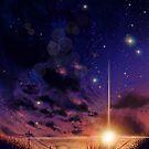 Anime-Landschaft des bewölkten Himmels der Galaxie von LunarAphelion