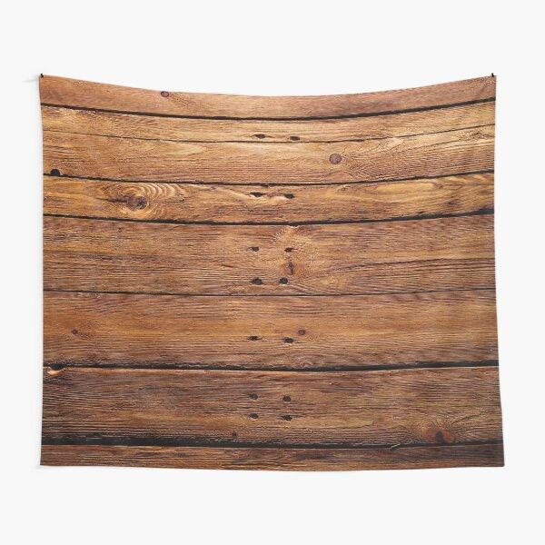 wood, hardwood, dark, log, carpentry, rough, pine, old, desk, horizontal, plank, flooring, wood paneling Tapestry