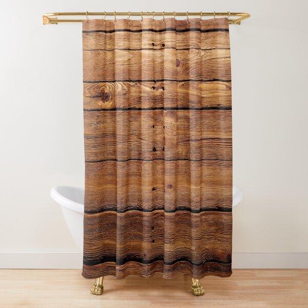 wood, hardwood, dark, log, carpentry, rough, pine, old, desk, horizontal, plank, flooring, wood paneling Shower Curtain