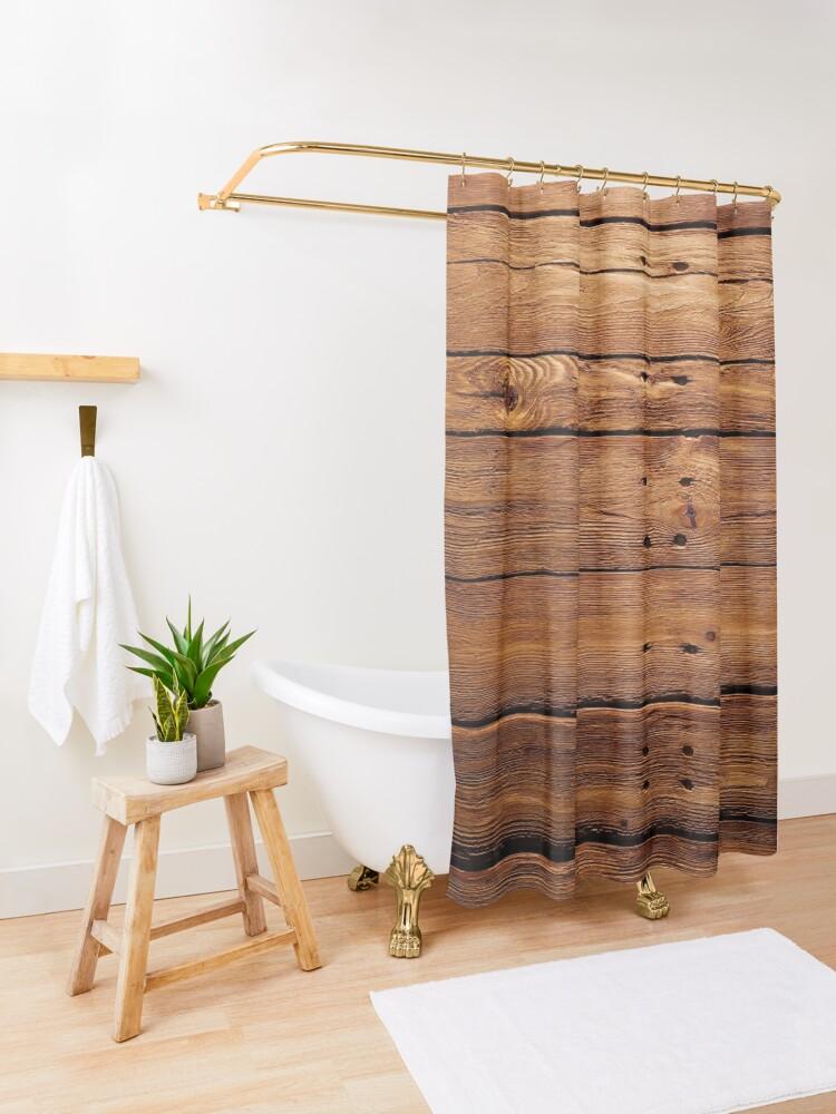 Alternate view of wood, hardwood, dark, log, carpentry, rough, pine, old, desk, horizontal, plank, flooring, wood paneling Shower Curtain