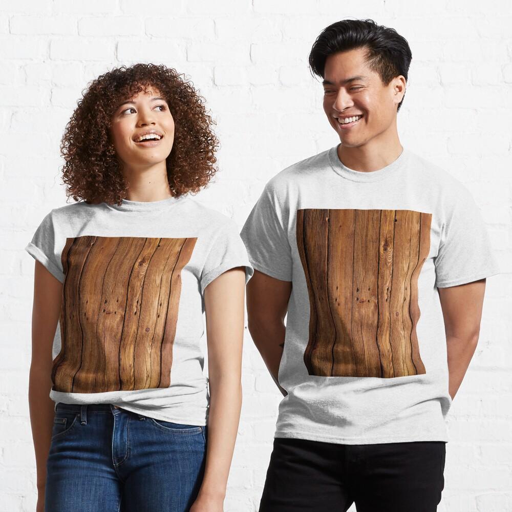#wood, #hardwood, #dark, #log, carpentry, rough, pine, old, desk, horizontal, plank, flooring, wood paneling, backgrounds Classic T-Shirt