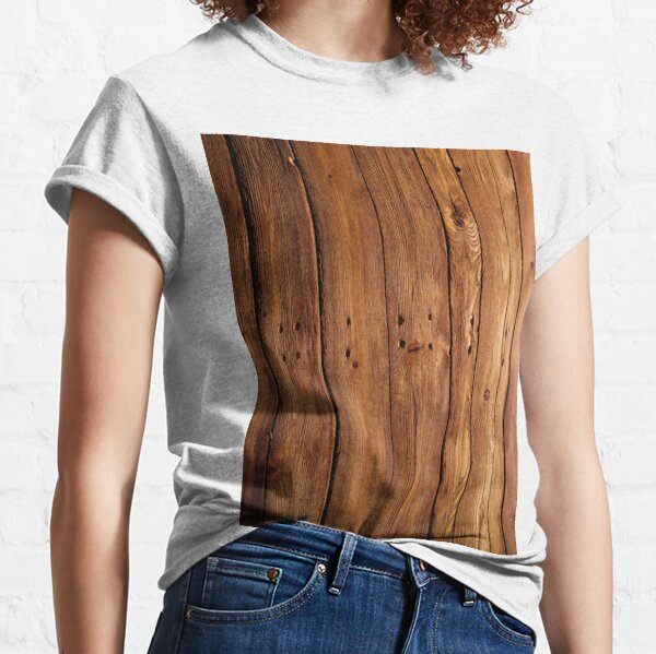 #wood, #hardwood, #dark, #log, carpentry, rough, pine, old, desk, horizontal, plank, flooring, wood paneling, backgrounds Classic T-Shirt