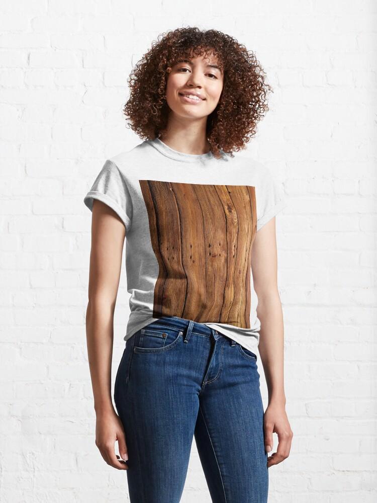 Alternate view of #wood, #hardwood, #dark, #log, carpentry, rough, pine, old, desk, horizontal, plank, flooring, wood paneling, backgrounds Classic T-Shirt